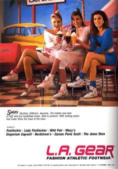 girls LA Gear Shots basketball shoes fashion 80s footwear