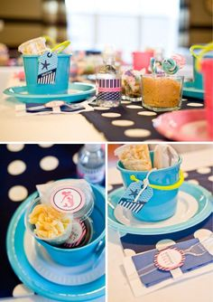 """Beach theme: Love the graham cracker crumb """"sand,"""" seashell cookies, ombre cake, nautical stripes, & buckets for the kids to decorate."""