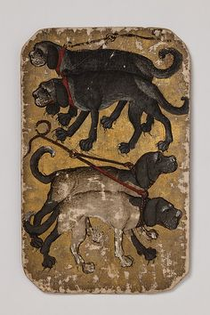 "4 of Hounds, from The Stuttgart Playing Cards, ca. 1430. The Metropolitan Museum of Art, New York. Landesmuseum Württemberg, Stuttgart (KK grau 34) | This work is featured in the ""The World in Play: Luxury Cards, 1430-1540"" exhibition, on view at The Met Cloisters through April 17, 2016. #MetLuxuryCards"