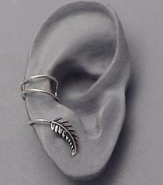Silver Leaf EAR CUFF New Leaf Swirly Sterling by SunnySkiesStudio