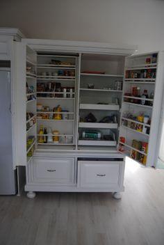 White Kitchen Bookcase, Kitchens, Shelves, Closet, Home Decor, Shelving, Armoire, Decoration Home, Room Decor