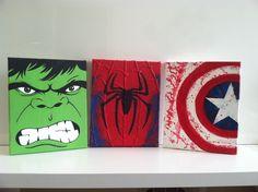 A personal favorite from my Etsy shop https://www.etsy.com/listing/291726507/marvel-superhero-canvas-set-spiderman Disney Canvas Art, Disney Canvas Paintings, Superhero Boys Room, Superhero Canvas, Drawing Cartoon Characters, Character Drawing, Cartoon Drawings, Marvel Paintings, Marvel Canvas