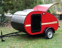 Red teardrop camper