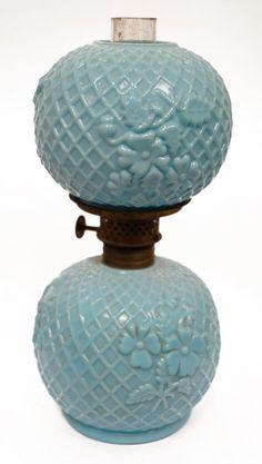 VICTORIAN MINIATURE BLUE OPAQUE GLASS EMBOSSED LATTICE                                                                                                                                                                                 More