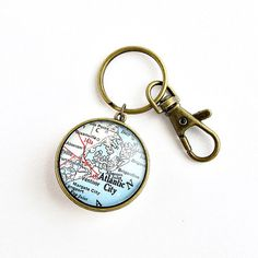 Double side Map Keychain / Long Distance by salvagedstudiomke