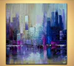 """Modern 36"""" x 36"""" ORIGINAL City Skyscrapers Acrylic Painting Signed Modern Palette Knife Acrylic Abstract by Osnat Tzadok"""