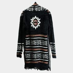 Aztec Long Cardigan Fringe Sweater - Black