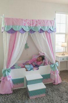 Mermaid Bed Mermaid Canopy Bed Girls Bed Toddler Twin or Mermaid Bedding, Mermaid Bedroom, Baby Girl Bedding, Pink Bedding, Luxury Bedding, Floral Bedding, Unique Bedding, Black Bedding, Bedding Sets