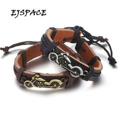 EJSPACE Fashion Rocking Charm Bracelets Motorcycle Leather Bracelet Bangle  for Women Men Vintage Punk Charm Jewelry ad50be0732f