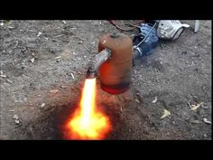 ▶ waste oil burner for scrapping construction and first fire up - YouTube