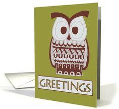 Green Brown Owl Greetings card by David Meeker