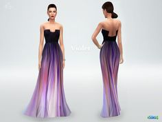 Silk ombre gown Violet by starlord at TSR via Sims 4 Updates