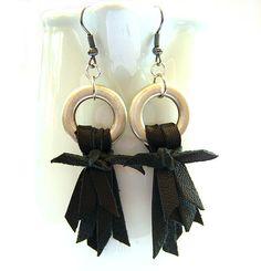 Black leather washer earrings