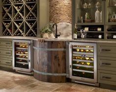 "Sonoma wine room with True Residential 24"" Dual Zone Wine Cabinets"