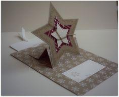 Ziehkarte stampin up mit Stern Weihnachten Schiebekarte schneeflocken