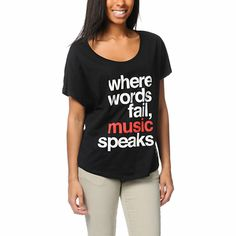 """Scene girl Jac Vanek brings her music inspired lifestyle to Element Girls with the Zumiez Exclusive black Music tee shirt. Rock and mosh to your favorite bands in this over-sized top with a wide open neckline, short dolman sleeves, boyfriend fit and rounded hem. The custom JV """"Where Words Fail, Music Speaks"""" graphic and Element x Jac Vanek collaboration logo are on the front in full view. Pair this comfortable loose fit tee with your acid wash jeans and combat boots and get to two-steppin'!"""