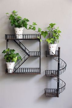 Balcony Wall Hanging Staircase Plant Shelf - Balcony Decoration Ideas in Every U. - Balcony Wall Hanging Staircase Plant Shelf – Balcony Decoration Ideas in Every Unique Detail Best - Iron Furniture, Steel Furniture, House Plants Decor, Plant Decor, Plant Shelves, Wall Shelves, Book Shelves, Corner Shelves, Fire Escape Shelf