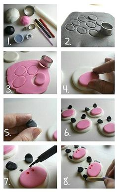 Fondant cow cupcake toppers