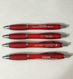 NURSE APPRECIATION PEN SET OF 4 NURSING RECOGNITION GIFT PENS RED WITH BLACK INK #NURSE