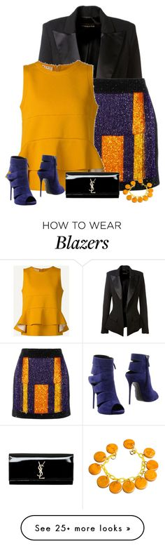 """marigold"" by divacrafts on Polyvore featuring Alexandre Vauthier, Balmain, Marni, Giuseppe Zanotti, Yves Saint Laurent and Original"