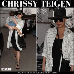 Chrissy Teigen in white printed coat and black dress #streetstyle