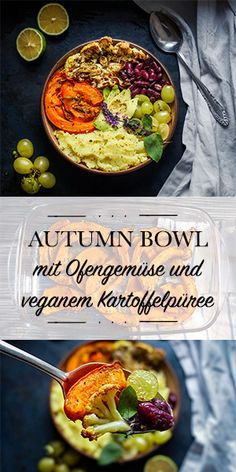 Autumn Bowl with oven baked pumpkin and cauliflower, kidney beans, grapes and vegan potato puree Veggie Recipes, Fall Recipes, Vegetarian Recipes, Healthy Recipes, Healthy Cooking, Healthy Eating, Soul Food, Clean Eating, Food And Drink