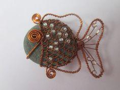 Kamínkové drátkované rybičky kamínky ryby rybičky drátek měděný