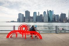 Modified Social Bench by Jeppe Hein;  NewYork City, NY