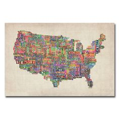 Michael Tompsett 'US Cities Text Map VI' Canvas Art | Overstock.com
