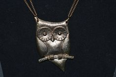 Chunky Owl Necklace Gold Tone Statement by FabulousVintageStore
