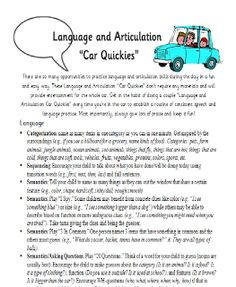 Parent Handouts: Language and Artic quickies, tips for reading, SLP vocabulary| Ms. B the SLP