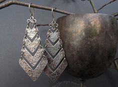Chevron Earrings Sterling Silver Chandelier Handmade Rustic Elegance OOAK ––––––––––––––––––––––––––––––––––––––––––––––––––––––––––––––––––––-– Rustic elegance in a pair of handmade sterling silver chevron chandelier earrings.. Hand cut from sterling silver sheet, the chevrons were