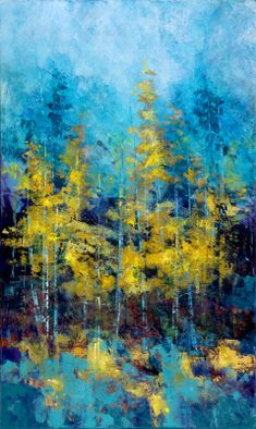 Turquoise Spontaneity by artist Susan Swartz. A large colorful abstract painting of golden trees against a blue sky. Lots of great texture in the patterns of brush strokes and the lines of the tree trunks. Landscape Art, Landscape Paintings, Landscapes, Paintings Of Trees, Abstract Paintings, Encaustic Art, Tree Art, Beautiful Paintings, Painting Inspiration