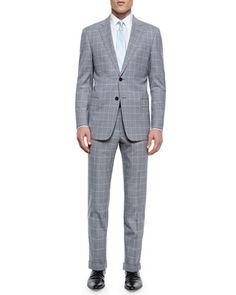 G-Line+Windowpane+Suit,+Light+Gray/White+by+Armani+Collezioni+at+Neiman+Marcus.