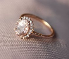 Morganite Ring Pink 6*8mm Fancy Morganite and Full Cut Natural Diamonds 14k Rose Gold Ring Wedding Ring Gemstone Engagement Ring by RobMdesign on Etsy https://www.etsy.com/listing/196560573/morganite-ring-pink-68mm-fancy-morganite