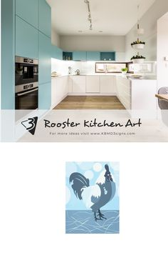 The light-blue rooster complements the airy light turquoise-blue dark and white kitchen. #roosterwalldecor #turquoisekitchen #kitchenwalldecor #walldecorideas #KBMD3signs