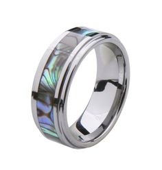 BESTSELLER! 8mm Wide Tungsten Carbide with Abalone Shell Inlay Wedding Engagement Ring Band $19.99