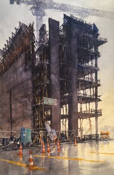"""William Hook, """"Going Up"""" , Vancouver Watercolor City, Watercolor Sketchbook, Art Sketchbook, Watercolor And Ink, Watercolor Paintings, Watercolours, Urban Landscape, Landscape Art, Landscape Paintings"""