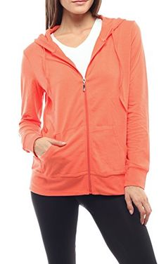 Zip-up Cotton Women Hoodie Lightweight Jackets with EttelLut Hair Band * Click image for more details.