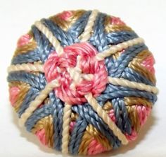 Antique Button Stellar Colorful Silk w/ needle worked pattern French