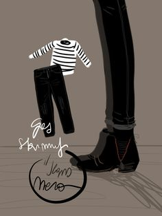 Gli skinny neri di Gas - Open Toe, fashion illustrated opentoeillustration.com