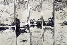 The Outside World x5, pen, A5 in total.
