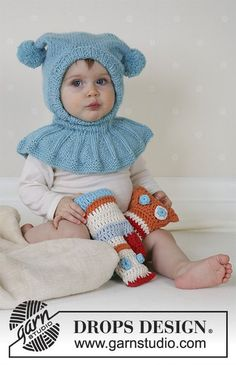 Funny Jester - Knitted jester hat with collar and pompons in DROPS Alpaca. Sizes baby and children from 1 month to 4 years. - Free pattern by DROPS Design Baby Knitting Patterns, Baby Hats Knitting, Baby Patterns, Free Knitting, Crochet Patterns, Drops Design, Drops Alpaca, Drops Baby, Jester Hat