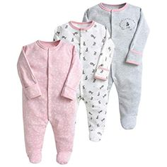 Simple Joys by Carters Baby and Toddler Lot de 3 pyjamas sans pieds en coton pour fille