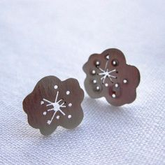 Silver Saw Pierced Cherry Blossom Studs £25.00  By Mikylla Claire Jewellery