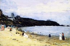 The Beach At Saint-Énogat, Brittany Artwork By Clarence Gagnon Oil Painting & Art Prints On Canvas For Sale Quebec, Clarence Gagnon, Canadian Painters, Canadian Artists, Of Montreal, Art Prints For Sale, Beach Art, Location History, Canvas Art Prints
