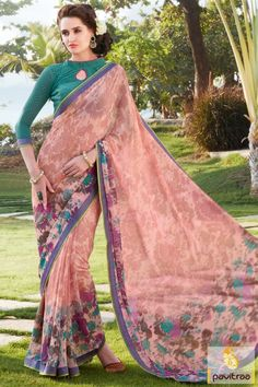 Famous high fashion fabulous light pink color festival wear designer saree with low cost. Shop online Indian sarees collection with wholesale and retail prices. #saree, #georgettesaree more: http://www.pavitraa.in/store/georgette-saree/