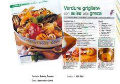 """Verdure Grigliate con Salsa alla Greca - """"Subito Pronto"""" Settembre 2004"""