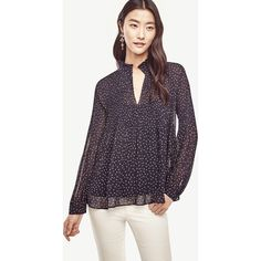 Ann Taylor Petite Butterfly Micro Pleat Blouse ($60) ❤ liked on Polyvore featuring tops, blouses, navy blue, navy blue blouse, long sleeve tops, long cami, chiffon ruffle blouse and ann taylor blouses