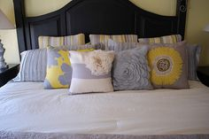 Want and NEED these pillows for my new room! Master Bedroom Redo, Home Bedroom, Bedroom Decor, Bedroom Colors, Design Bedroom, Master Bedrooms, Bedroom Ideas, Yellow Gray Bedroom, Yellow Pillows
